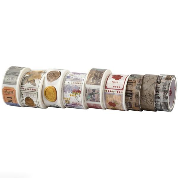 Assortiment de masking tape - Motifs Vintage - 9 rouleaux - Photo n°1