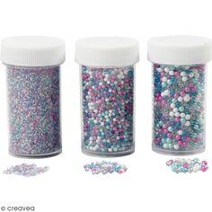 Assortiment de mini billes de verre - De 0,6 à 3 mm - 3 boîtes