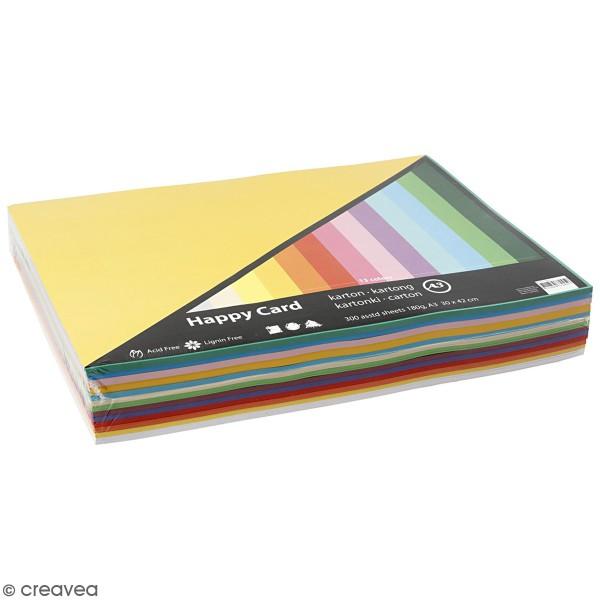 Papier cartonné A3 180 g - Couleurs de printemps - 300 feuilles - Photo n°1