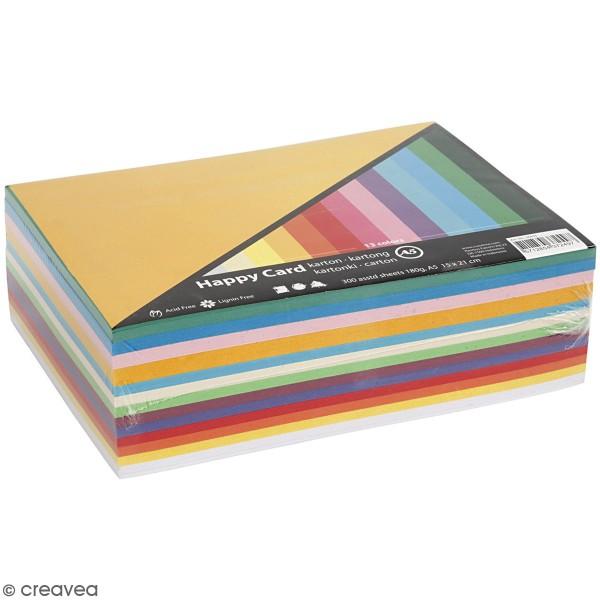 Papier cartonné A5 180 g - Couleurs de printemps - 300 feuilles - Photo n°1
