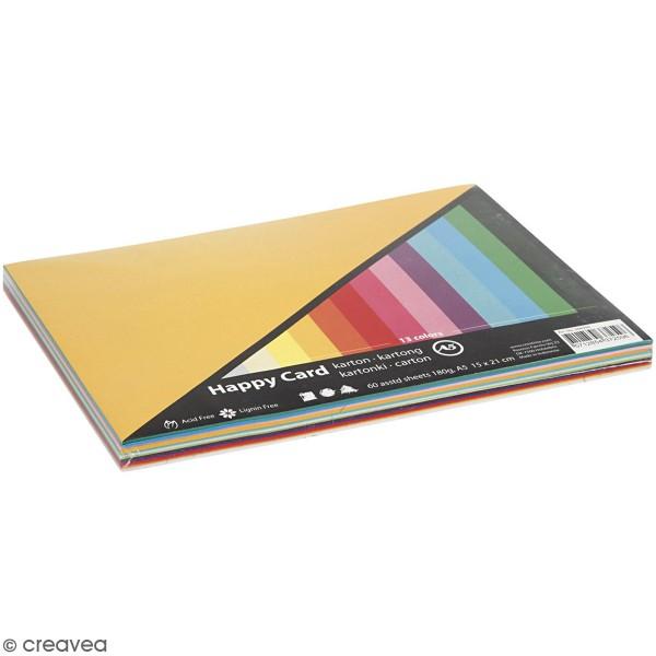 Papier cartonné A5 180 g - Couleurs de printemps - 60 feuilles - Photo n°1
