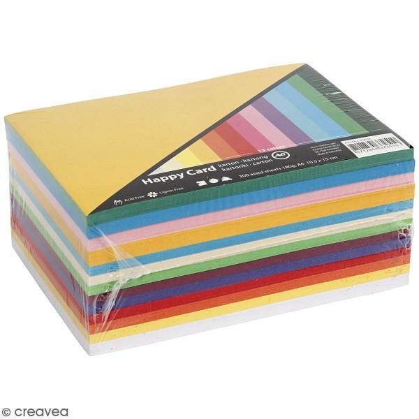 Papier cartonné A6 180 g - Couleurs de printemps - 300 feuilles - Photo n°1