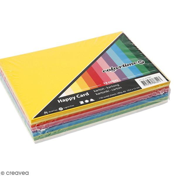 Papier cartonné A6 180 g - Couleurs de printemps - 120 feuilles - Photo n°1