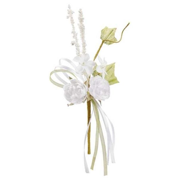 10 Minis bouquets de fleurs tissu blanc 15cm - Photo n°1