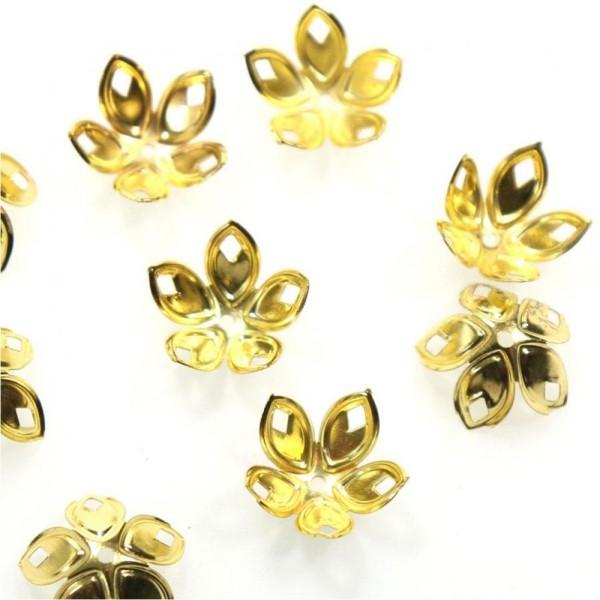 Calottes coupelles avec losanges pour perles (50 pièces) Doré - Photo n°1