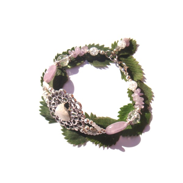 Bracelet Estampe Fleur Pierre de Lune brute , Améthyste et Cristal craquelé 18/18.5 CM - Photo n°2
