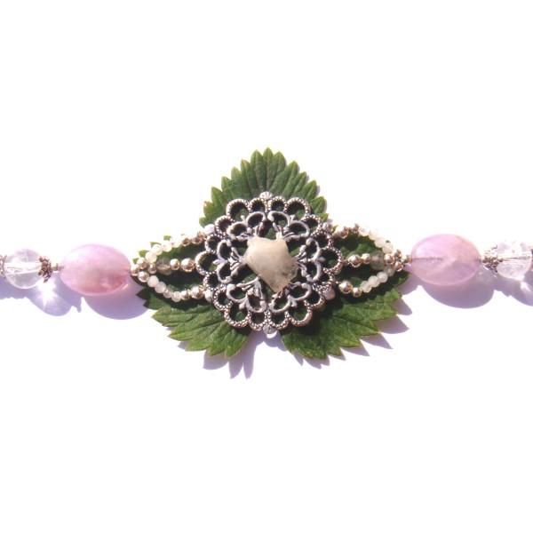 Bracelet Estampe Fleur Pierre de Lune brute , Améthyste et Cristal craquelé 18/18.5 CM - Photo n°3