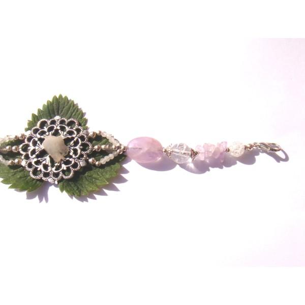 Bracelet Estampe Fleur Pierre de Lune brute , Améthyste et Cristal craquelé 18/18.5 CM - Photo n°4
