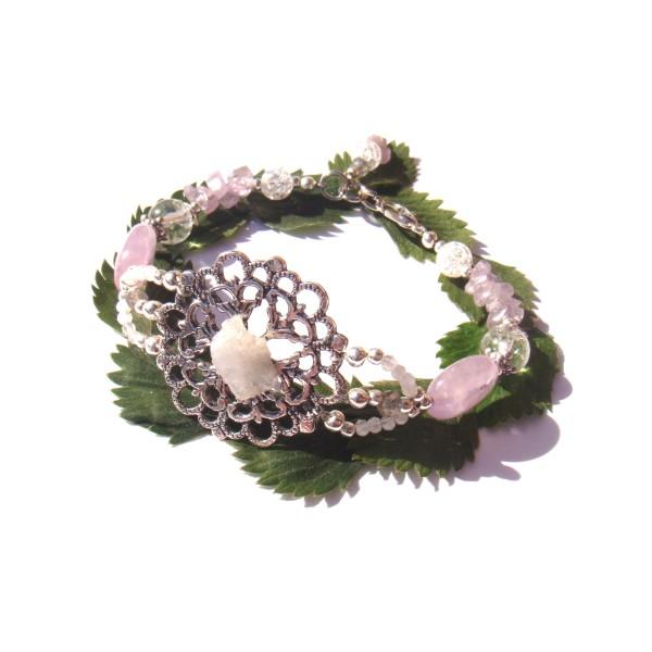Bracelet Estampe Fleur Pierre de Lune brute , Améthyste et Cristal craquelé 18/18.5 CM - Photo n°1