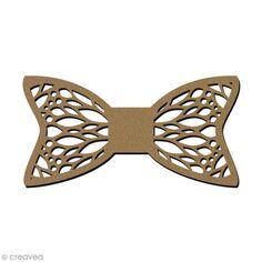Noeud papillon en bois - Motif géométrique - 11,5 x 5,8 cm
