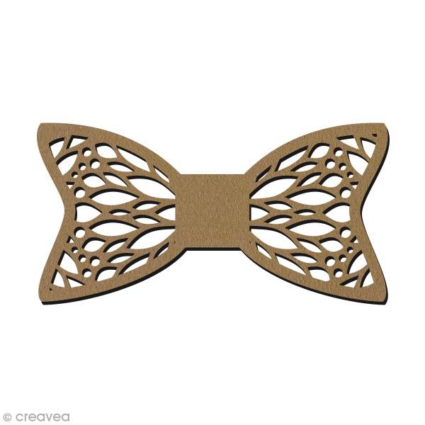 Noeud papillon en bois - Motif géométrique - 11,5 x 5,8 cm - Photo n°1