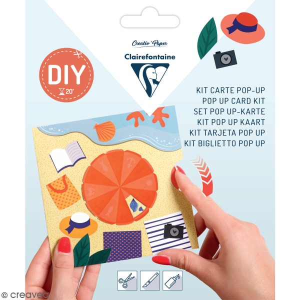 Kit pop-up Vacances ensoleillées - Carte et enveloppe - 140 x 140 mm - Photo n°1