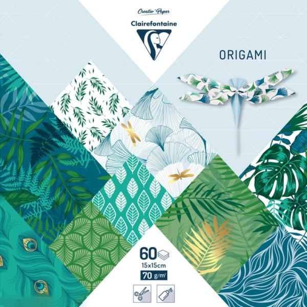 Papier origami Clairefontaine - 15 x 15 cm - Végétal chic - 60 feuilles - Photo n°1