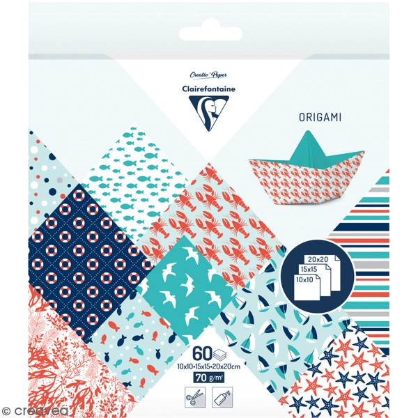 Papier origami Clairefontaine - 3 formats - Grand large - 60 feuilles - Photo n°1