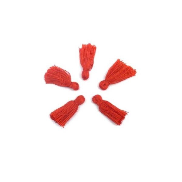 5 Petits Pompons Rouge De 2cm - Photo n°1