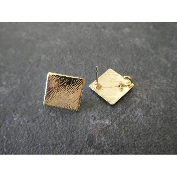 Paire boucles d'oreilles puce losange / carré avec boucle - 17*17mm - doré aspect strié - Photo n°2