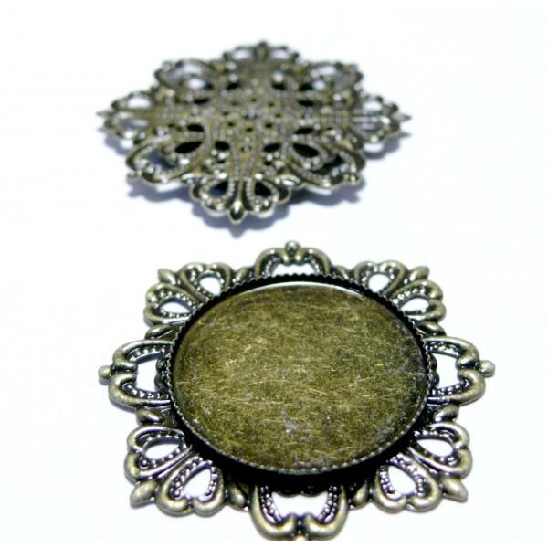 Lot de 10 Supports de pendentif vintage métal couleur bronze B21815 - Photo n°1