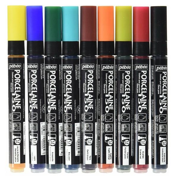 Feutres porcelaine P150 Pébéo - Pointe normale 1,2 mm x 9 - Photo n°2