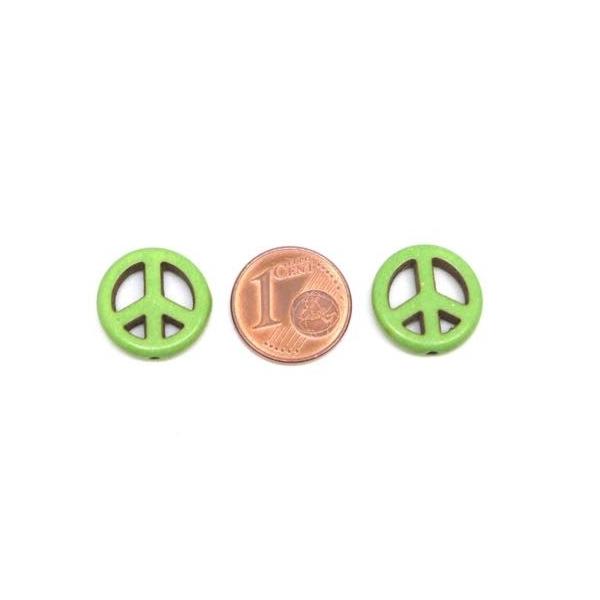 5 Perles Peace And Love Vert Amande En Pierre Synthétique Imitation