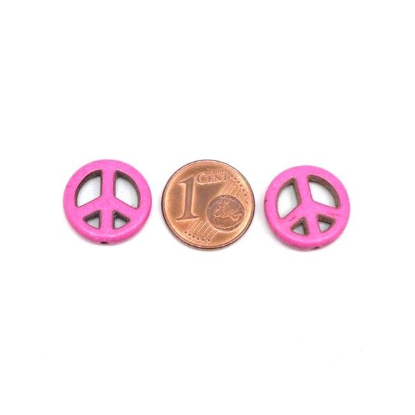 5 Perles Peace And Love 15mm Rose Fuchsia En Pierre Synthétique Style