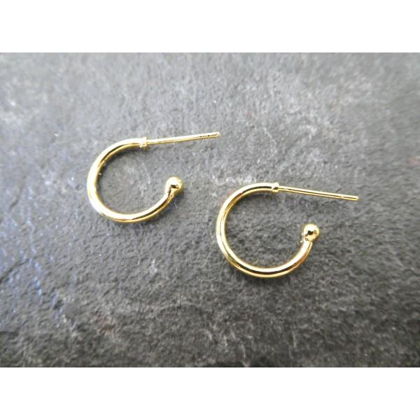Paire boucles d'oreilles puce style créole 21*15mm doré - Photo n°1