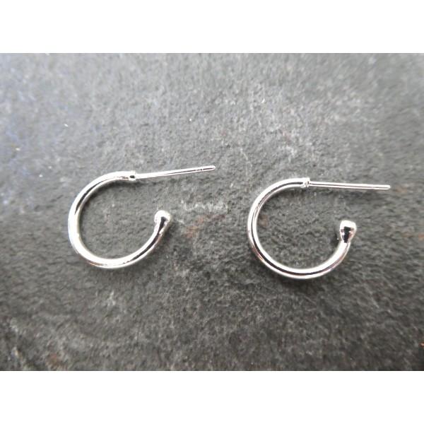 Paire boucles d'oreilles puce style créole 21*15mm argent clair - Photo n°1