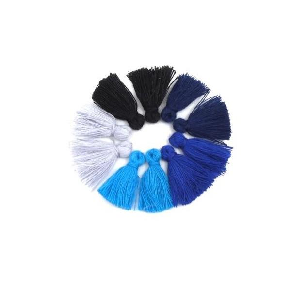 Lot De 10 Petits Pompons, Bleu, Blanc, Noir, Bleu Marine Et Bleu Outremer 2cm - Photo n°1