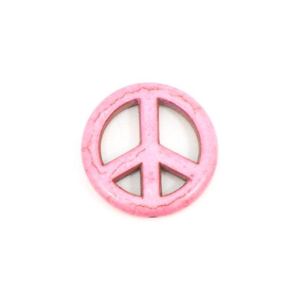 2 Perles Peace And Love Rose Pâle Imitation Turquoise
