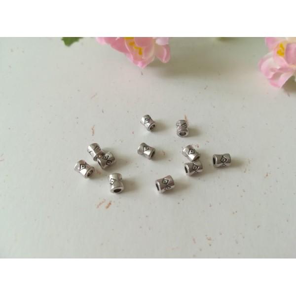 Perles métal intercalaire tube 4 mm argent vieilli x 50 - Photo n°1