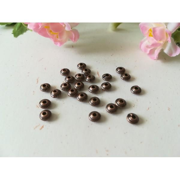 Perles métal intercalaire toupie strié 5 mm cuivre x 50 - Photo n°1