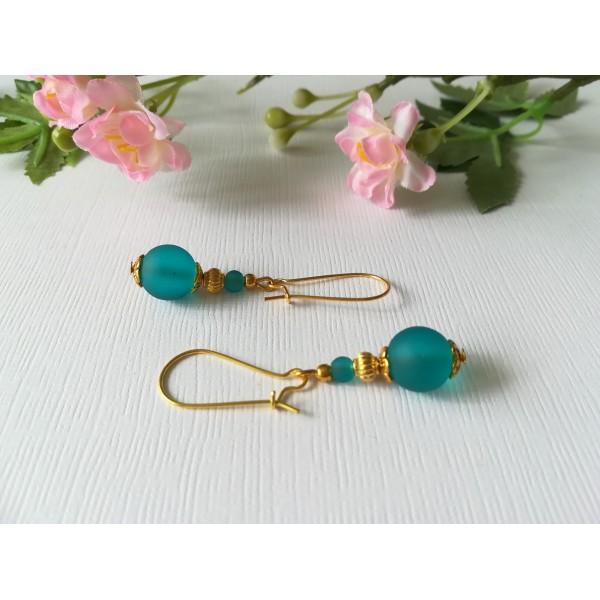 Kit de boucles d'oreilles apprêts dorés et perles en verre turquoise - Photo n°1