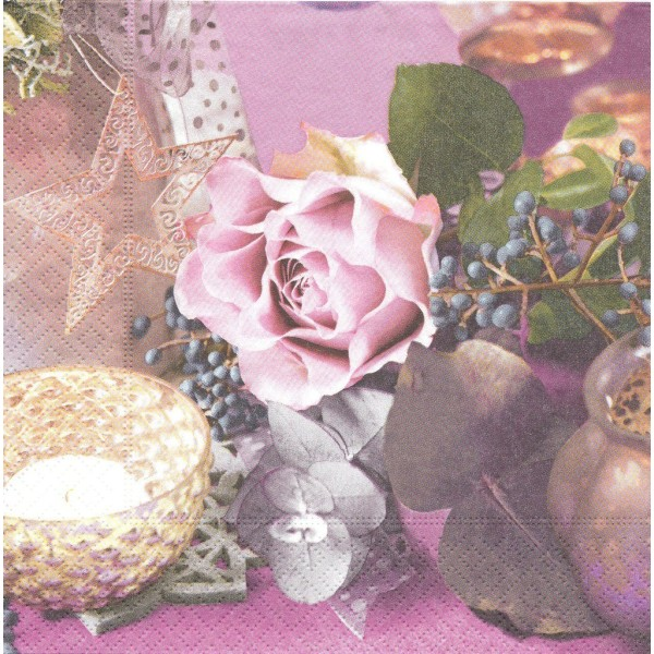 4 Serviettes en papier Décor Fleur Rose Format Lunch Decoupage LC0330 Colourful Life - Photo n°1