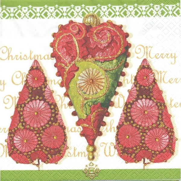 4 Serviettes en papier Coeur Noël Oriental Format Lunch Decoupage Decopatch 611242 Home Fashion - Photo n°1