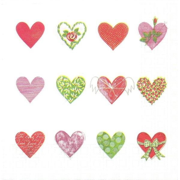 4 Serviettes en papier Amour Cœur Mariage Format Lunch Decoupage Decopatch 6094 PPD - Photo n°1