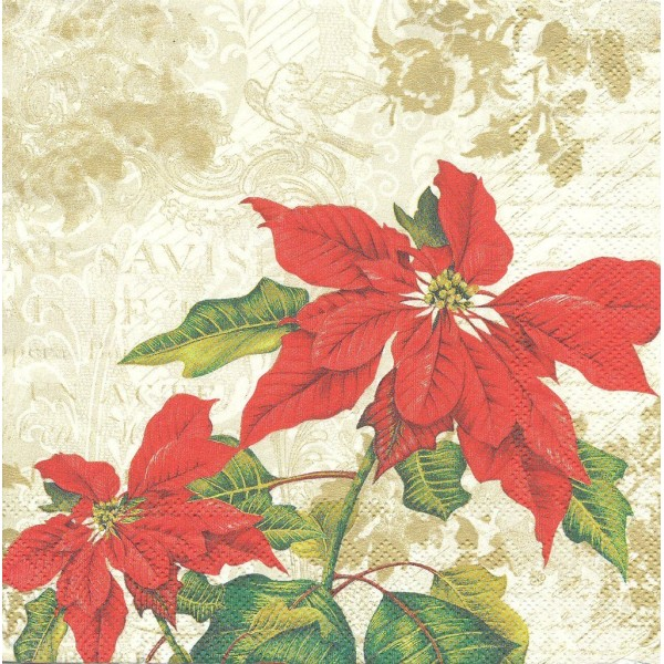 4 Serviettes en papier Fleurs de Noël Poinsettia Format Lunch Decoupage Decopatch L-486060 IHR - Photo n°1