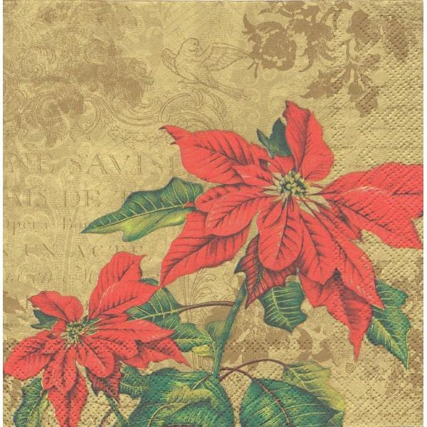 4 Serviettes en papier Fleurs de Noël Poinsettia Format Lunch Decoupage Decopatch L-486009 IHR - Photo n°1