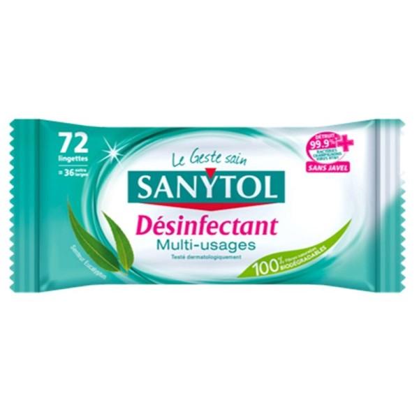 Lingettes désinfectantes multi-usages Sanytol - Eucalyptus - 72 Lingettes - Photo n°1