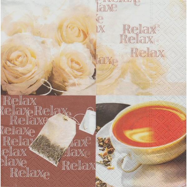 4 Serviettes en papier Cuisine Thé Relax Rose Format Lunch Decoupage Decopatch 21273 Paper+Design - Photo n°1