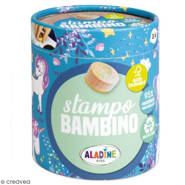 Kit de tampons bois Stampo Bambino - Licorne - 8 pcs - Photo n°1