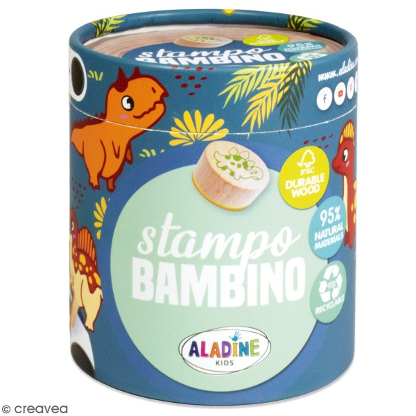 Kit de tampons bois Stampo Bambino - Dinosaure - 8 pcs - Photo n°1