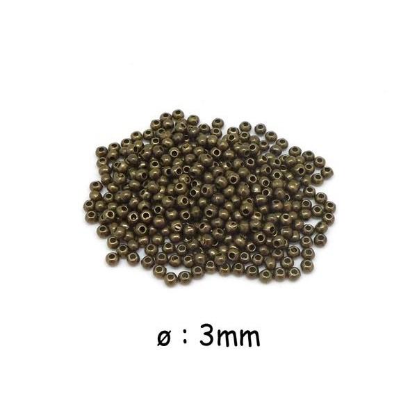 135 Petites Perles Rondes 3mm Couleur Bronze En Métal Lisse - Photo n°1