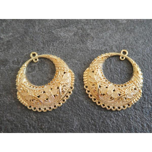 2 Chandeliers ronds motif fleurs 32*30mm doré - Photo n°1