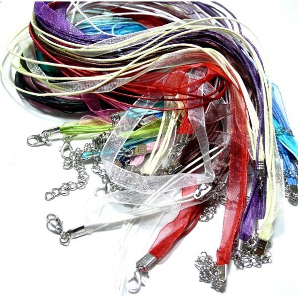 PS1100713H PAX 20 Colliers Organza et Corde 4 rangées Multicolores - Photo n°1