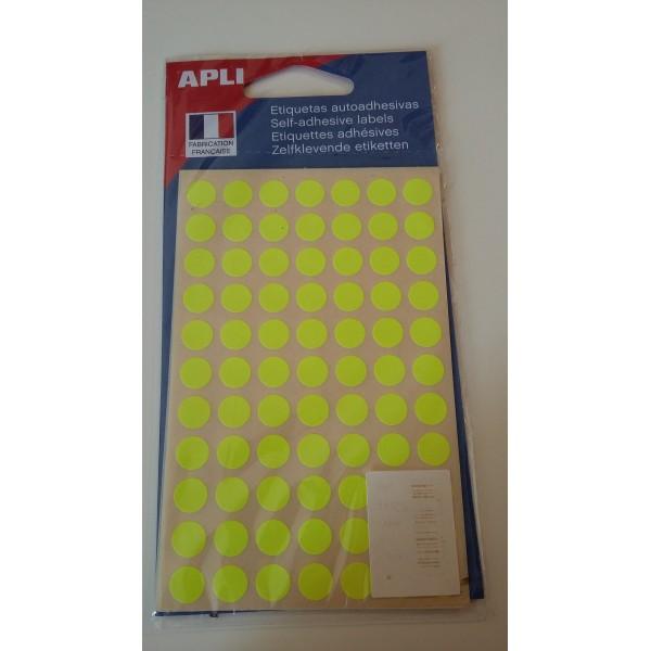 Etiquette adhésive ronde jaune fluo - Photo n°1