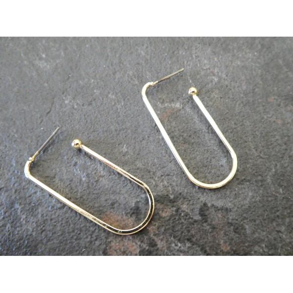 Paire boucles d'oreille puce forme rectangle ouvert 39*17mm doré - Photo n°1