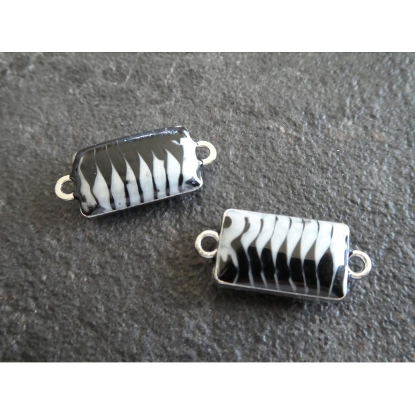 2 Connecteurs rectangle rayés effet nacré noir et gris clair 25*11mm base argentée - Photo n°1