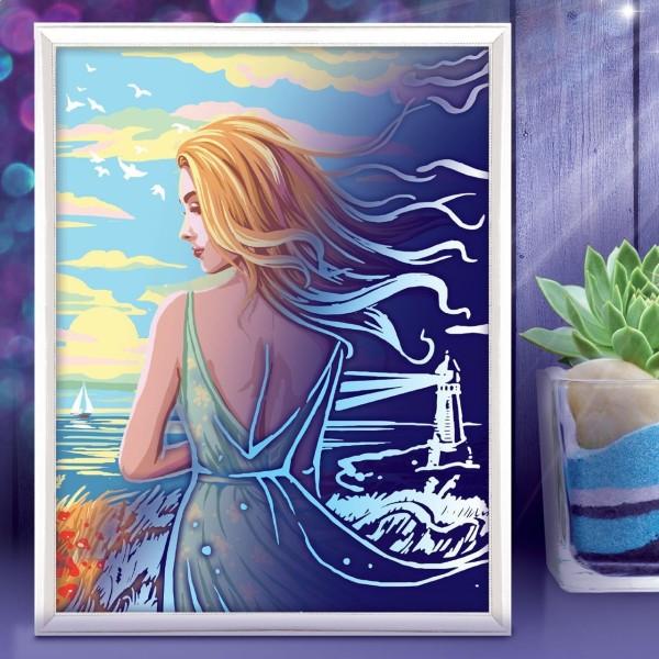 Fille de l'Océan de la Mer de Lune Peinture Par numéro Kit de Bricolage, Lueur Dans l'Obscurité Ense - Photo n°2