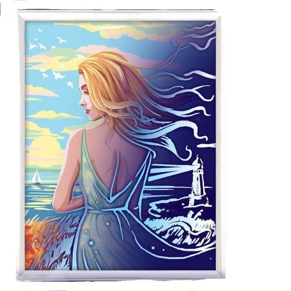 Fille de l'Océan de la Mer de Lune Peinture Par numéro Kit de Bricolage, Lueur Dans l'Obscurité Ense - Photo n°1