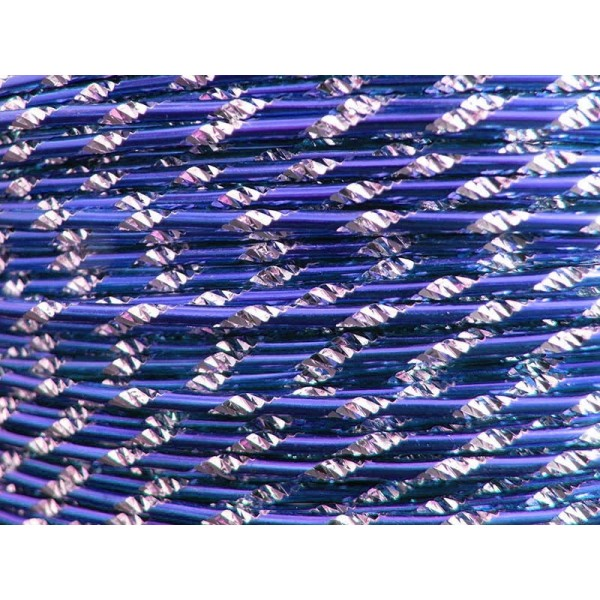 30 Mètres fil aluminium ciselé bleu royal 2mm - Photo n°1