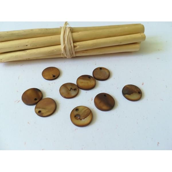 Sequins nacre 15 mm marron x 10 - Photo n°1